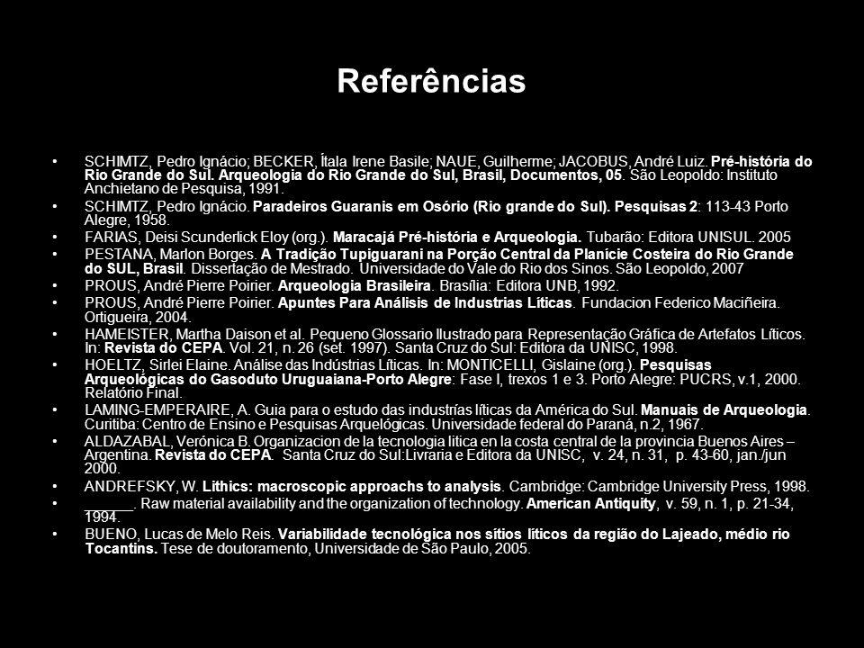 Referências SCHIMTZ, Pedro Ignácio; BECKER, Ítala Irene Basile; NAUE, Guilherme; JACOBUS, André Luiz. Pré-história do Rio Grande do Sul. Arqueologia d
