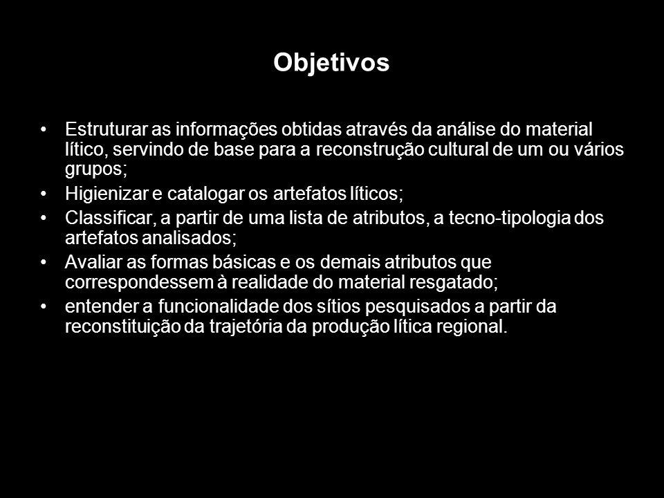 Métodos A análise do material lítico é um procedimento que visa estruturar as informações obtidas através do material arqueológico, servindo de base para a reconstrução cultural de um ou vários grupos (MILLER JR.