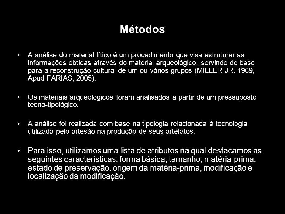 Métodos A análise do material lítico é um procedimento que visa estruturar as informações obtidas através do material arqueológico, servindo de base p