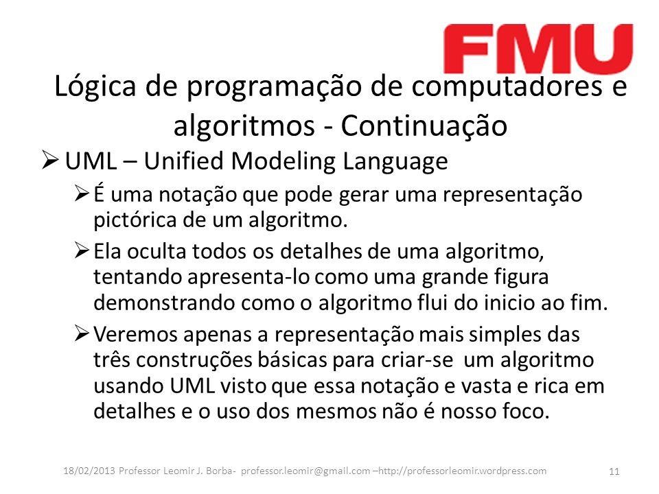 Lógica de programação de computadores e algoritmos - Continuação UML – Unified Modeling Language É uma notação que pode gerar uma representação pictór