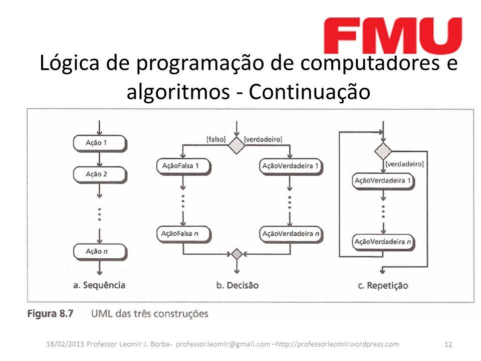 Lógica de programação de computadores e algoritmos - Continuação 12 18/02/2013 Professor Leomir J. Borba- professor.leomir@gmail.com –http://professor