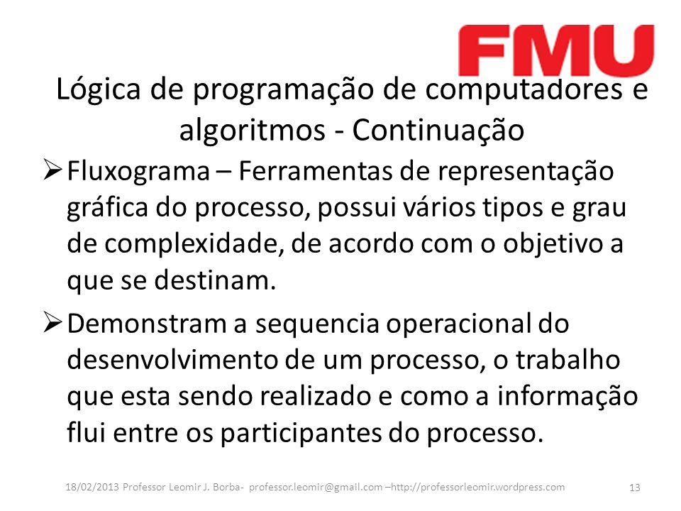 Lógica de programação de computadores e algoritmos - Continuação Fluxograma – Ferramentas de representação gráfica do processo, possui vários tipos e