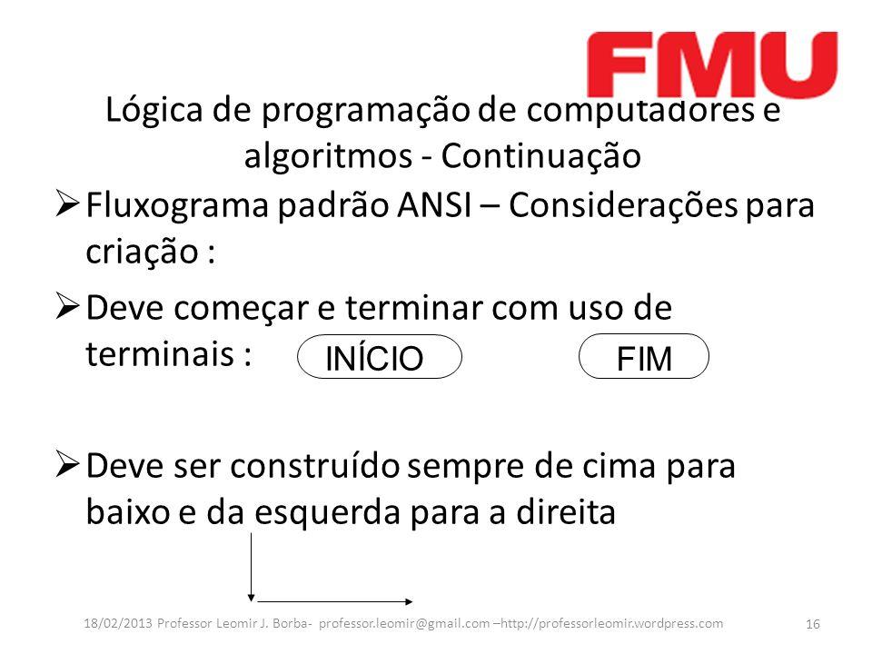 Lógica de programação de computadores e algoritmos - Continuação Fluxograma padrão ANSI – Considerações para criação : Deve começar e terminar com uso