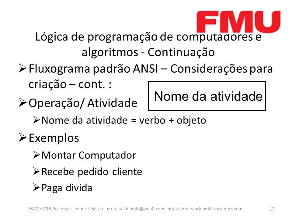 Lógica de programação de computadores e algoritmos - Continuação Fluxograma padrão ANSI – Considerações para criação – cont. : Operação/ Atividade Nom