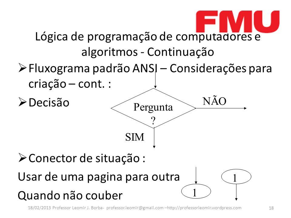 Lógica de programação de computadores e algoritmos - Continuação Fluxograma padrão ANSI – Considerações para criação – cont. : Decisão Conector de sit