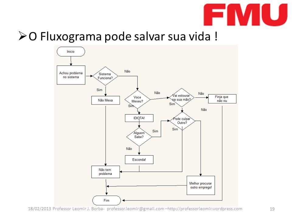 O Fluxograma pode salvar sua vida ! 19 18/02/2013 Professor Leomir J. Borba- professor.leomir@gmail.com –http://professorleomir.wordpress.com