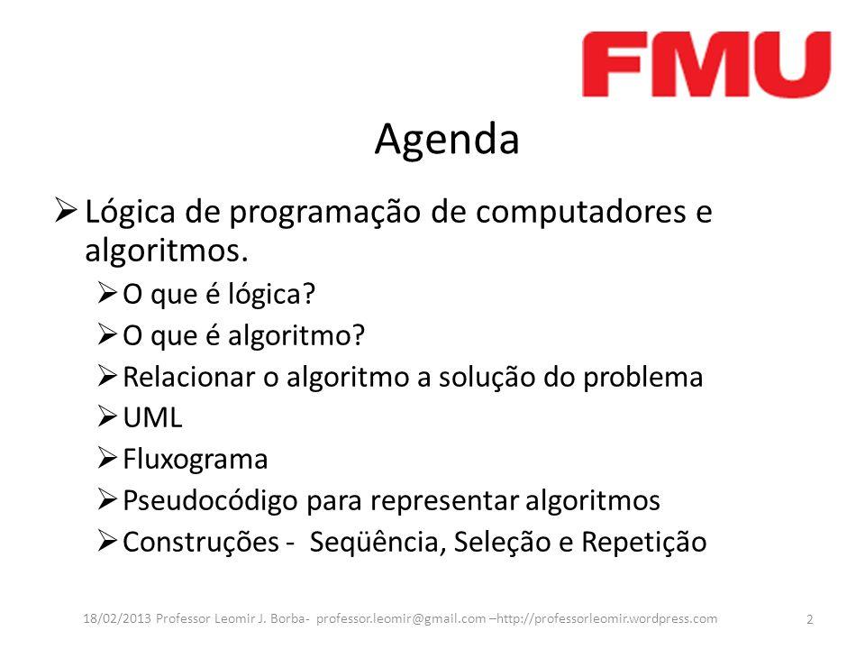 Agenda Lógica de programação de computadores e algoritmos. O que é lógica? O que é algoritmo? Relacionar o algoritmo a solução do problema UML Fluxogr