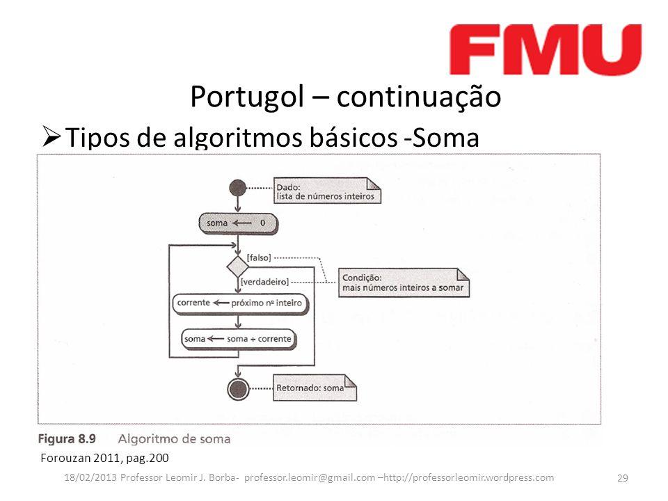 Portugol – continuação Tipos de algoritmos básicos -Soma Forouzan 2011, pag.200 29 18/02/2013 Professor Leomir J. Borba- professor.leomir@gmail.com –h