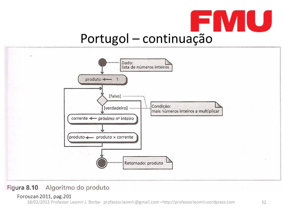 Portugol – continuação Forouzan 2011, pag.201 32 18/02/2013 Professor Leomir J. Borba- professor.leomir@gmail.com –http://professorleomir.wordpress.co