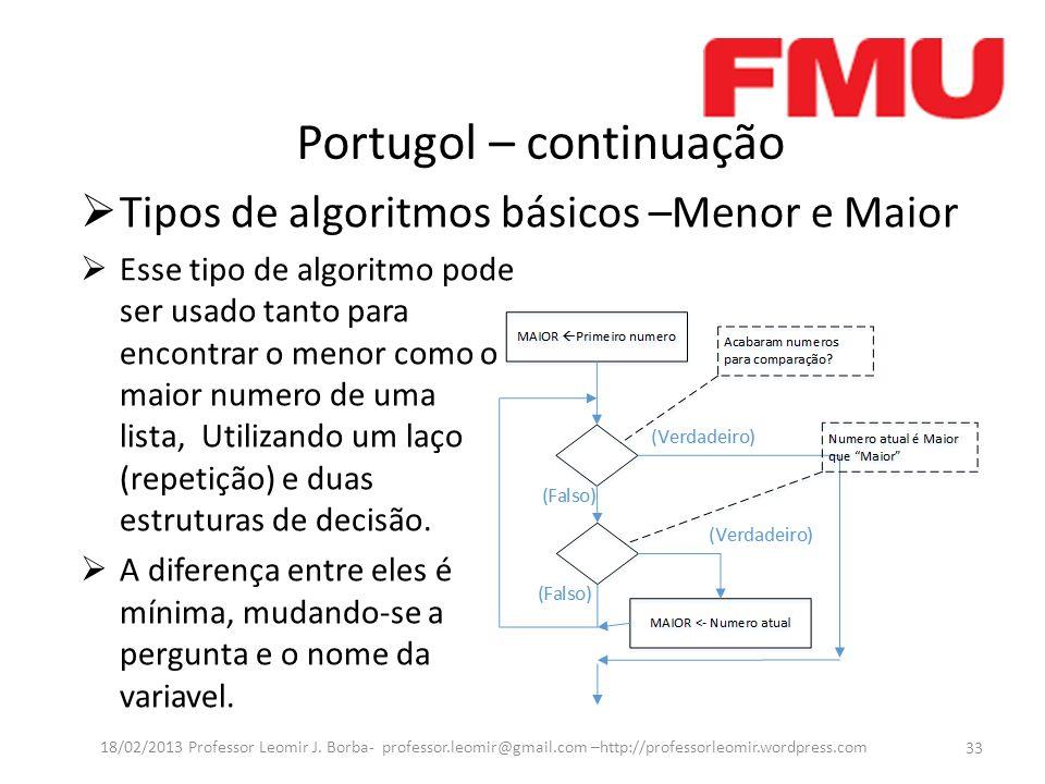 Portugol – continuação 33 18/02/2013 Professor Leomir J. Borba- professor.leomir@gmail.com –http://professorleomir.wordpress.com Tipos de algoritmos b