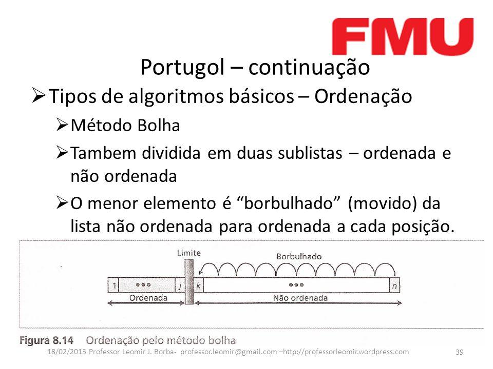 Portugol – continuação 39 18/02/2013 Professor Leomir J. Borba- professor.leomir@gmail.com –http://professorleomir.wordpress.com Tipos de algoritmos b