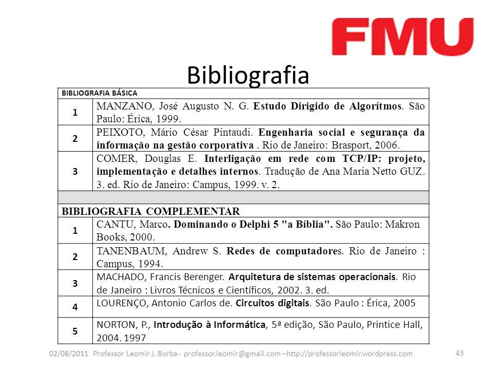 Bibliografia 02/08/2011 Professor Leomir J. Borba- professor.leomir@gmail.com –http://professorleomir.wordpress.com 43 BIBLIOGRAFIA BÁSICA 1 MANZANO,