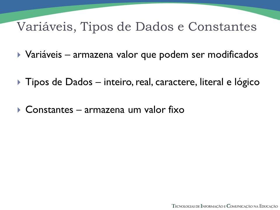 Variáveis, Tipos de Dados e Constantes Variáveis – armazena valor que podem ser modificados Tipos de Dados – inteiro, real, caractere, literal e lógic