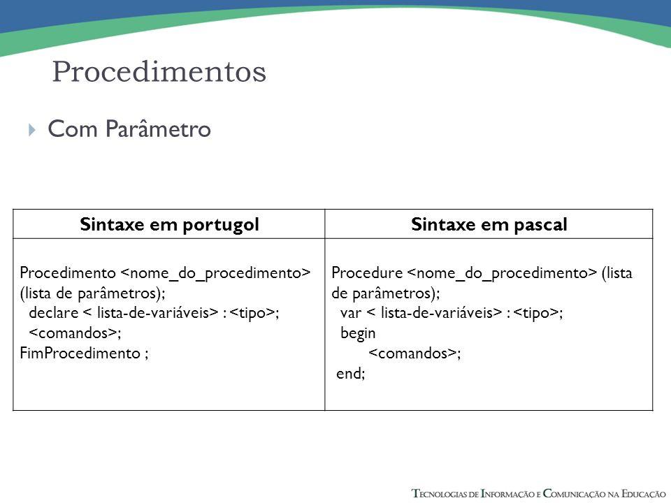 Com Parâmetro Sintaxe em portugolSintaxe em pascal Procedimento (lista de parâmetros); declare : ; ; FimProcedimento ; Procedure (lista de parâmetros)