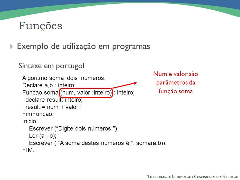Exemplo de utilização em programas Sintaxe em portugol Funções Algoritmo soma_dois_numeros; Declare a,b : inteiro; Funcao soma (num, valor :inteiro) :