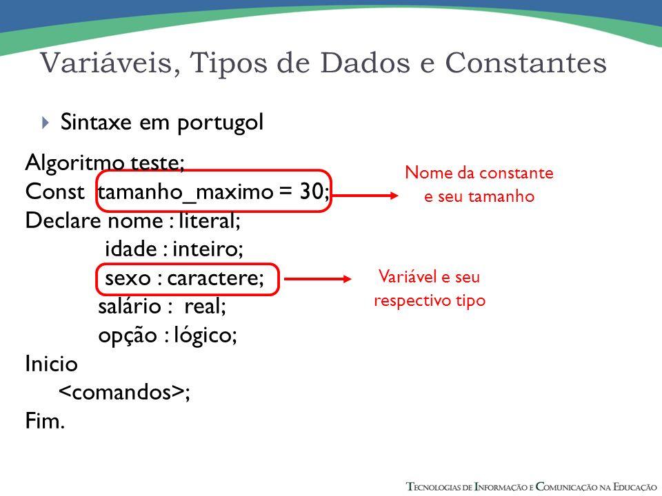 Nome da constante e seu tamanho Variáveis, Tipos de Dados e Constantes Algoritmo teste; Const tamanho_maximo = 30; Declare nome : literal; idade : int