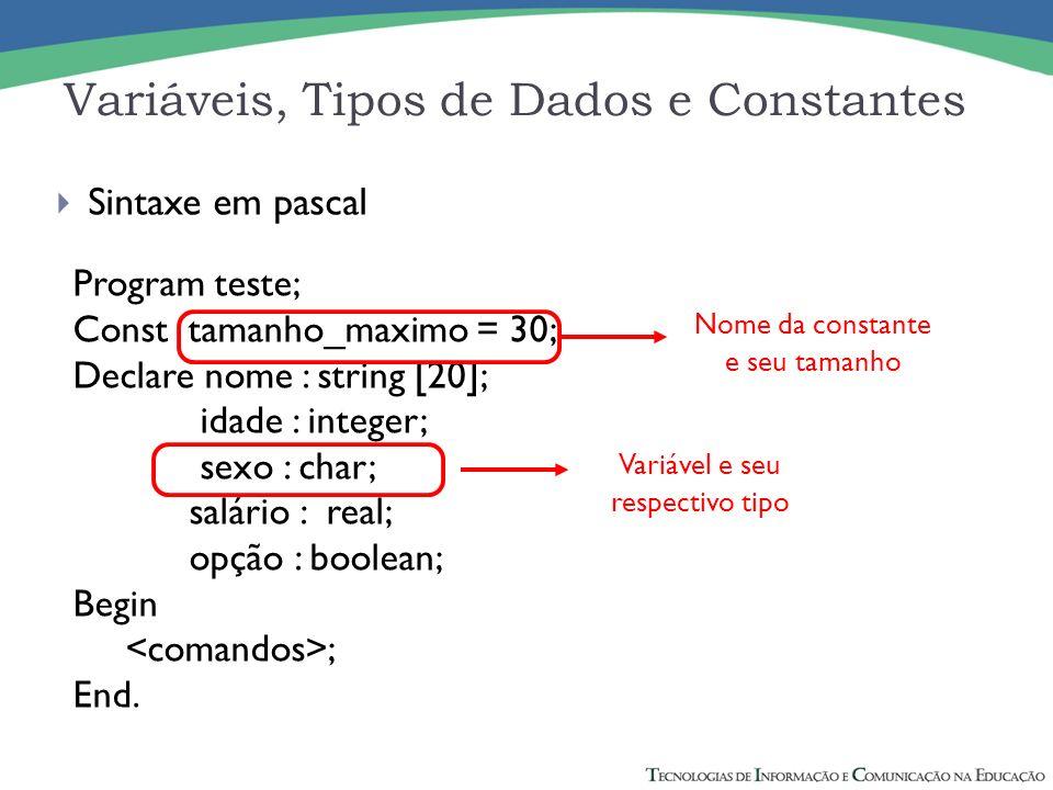 Sintaxe em pascal Program teste; Const tamanho_maximo = 30; Declare nome : string [20]; idade : integer; sexo : char; salário : real; opção : boolean;