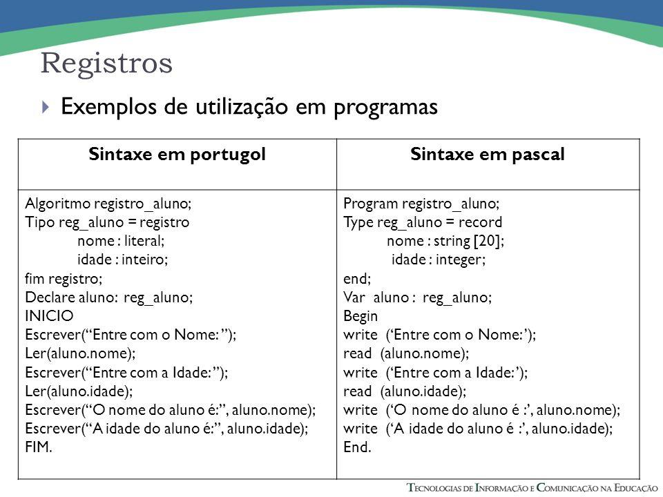 Registros Sintaxe em portugolSintaxe em pascal Algoritmo registro_aluno; Tipo reg_aluno = registro nome : literal; idade : inteiro; fim registro; Decl