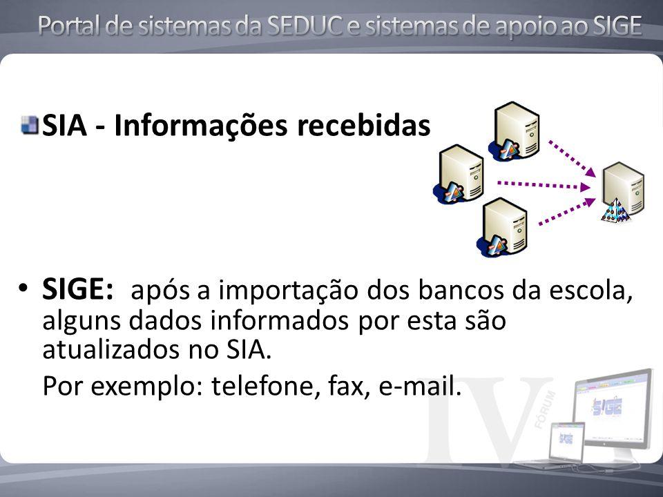 SIA - Informações recebidas SIGE: apó s a importação dos bancos da escola, alguns dados informados por esta são atualizados no SIA.