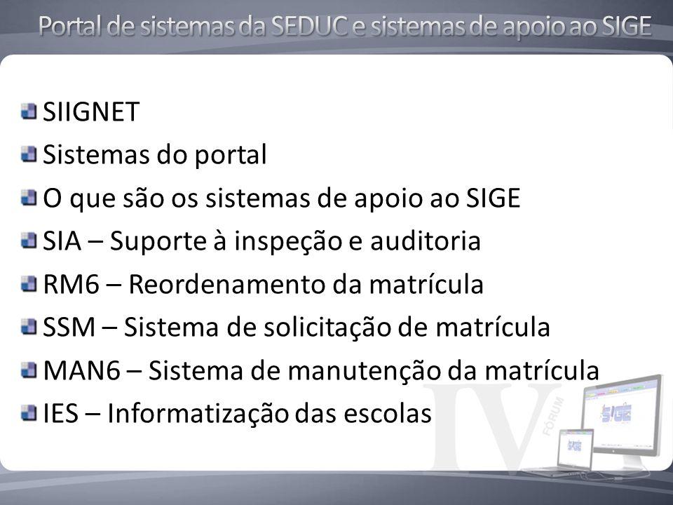 SIIGNET Sistemas do portal O que são os sistemas de apoio ao SIGE SIA – Suporte à inspeção e auditoria RM6 – Reordenamento da matrícula SSM – Sistema de solicitação de matrícula MAN6 – Sistema de manutenção da matrícula IES – Informatização das escolas