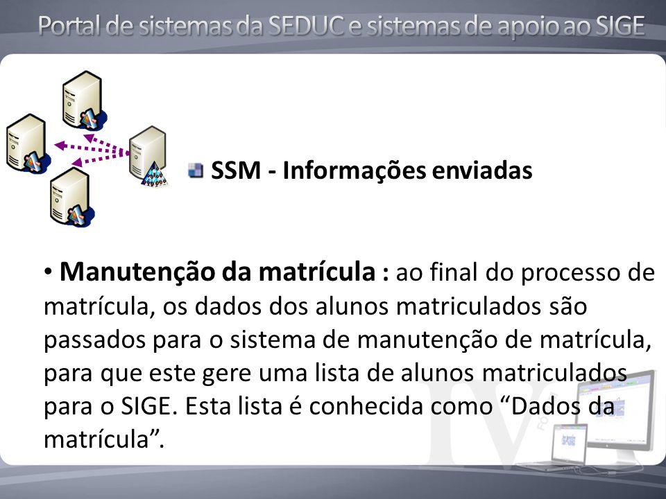 SSM - Informações enviadas Manutenção da matrícula : ao final do processo de matrícula, os dados dos alunos matriculados são passados para o sistema de manutenção de matrícula, para que este gere uma lista de alunos matriculados para o SIGE.