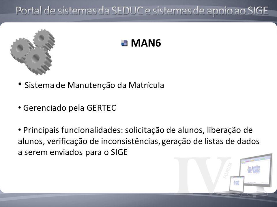 MAN6 Sistema de Manutenção da Matrícula Gerenciado pela GERTEC Principais funcionalidades: solicitação de alunos, liberação de alunos, verificação de inconsistências, geração de listas de dados a serem enviados para o SIGE