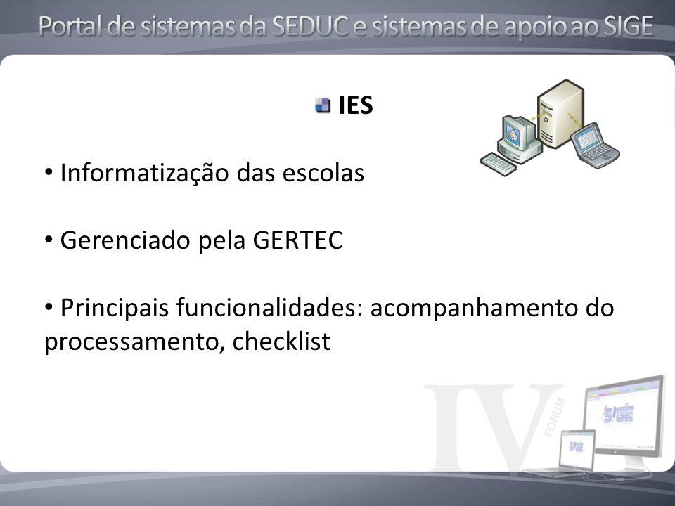 IES Informatização das escolas Gerenciado pela GERTEC Principais funcionalidades: acompanhamento do processamento, checklist