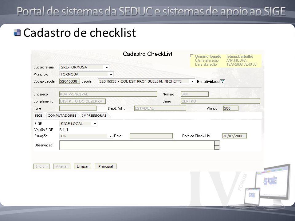 Cadastro de checklist