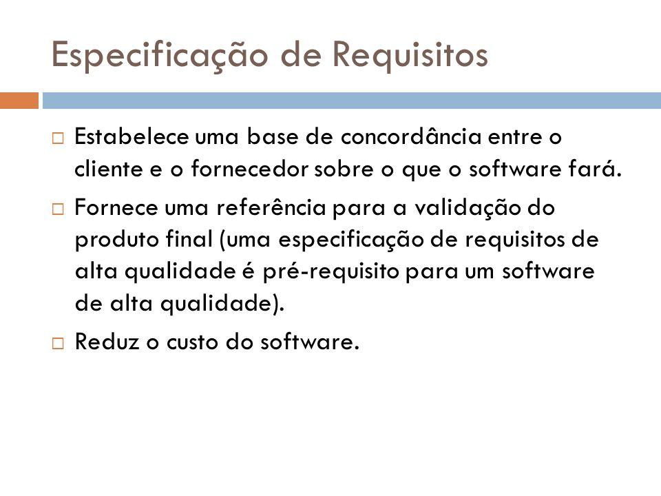 Especificação de Requisitos Estabelece uma base de concordância entre o cliente e o fornecedor sobre o que o software fará. Fornece uma referência par