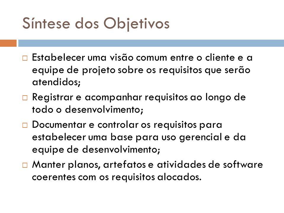Síntese dos Objetivos Estabelecer uma visão comum entre o cliente e a equipe de projeto sobre os requisitos que serão atendidos; Registrar e acompanha
