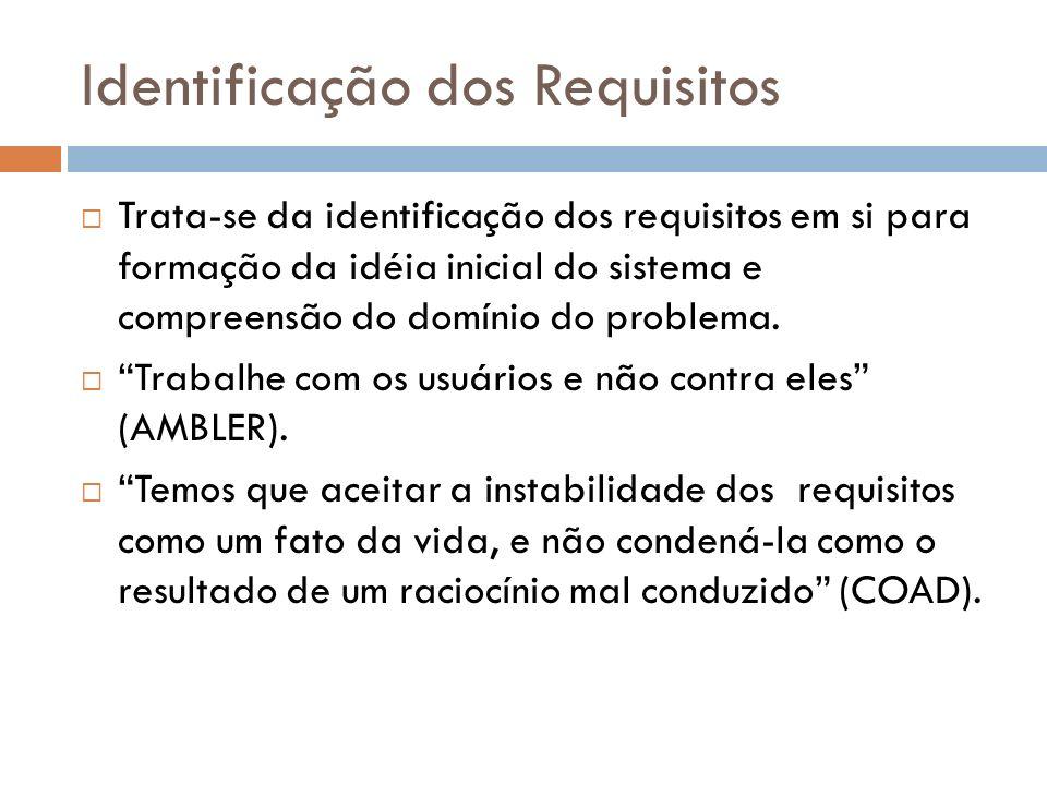 Identificação dos Requisitos Trata-se da identificação dos requisitos em si para formação da idéia inicial do sistema e compreensão do domínio do prob