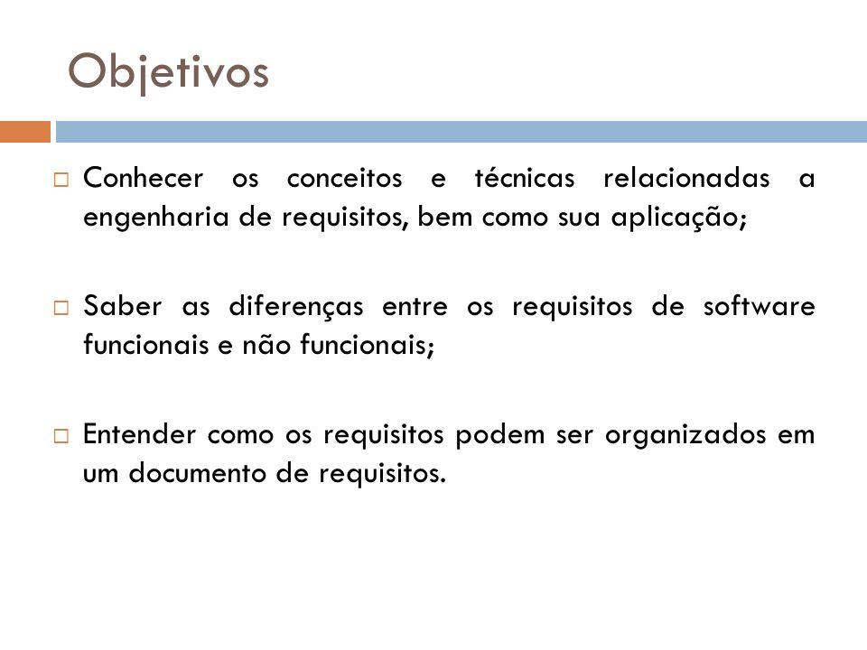 RNF do Produto: Produto deve comportar-se de forma particular (velocidade de execução, confiabilidade, etc.) RNF Organizacionais: Conseqüência de políticas e procedimentos organizacionais (padrões de processo usados, requisitos de implementação, etc.) RNF Externos: Conseqüência de fatores externos ao sistema e ao processo de desenvolvimento (legislação, etc.)