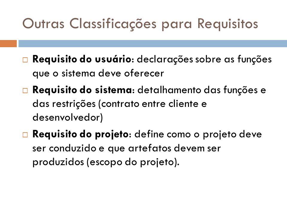 Outras Classificações para Requisitos Requisito do usuário: declarações sobre as funções que o sistema deve oferecer Requisito do sistema: detalhament