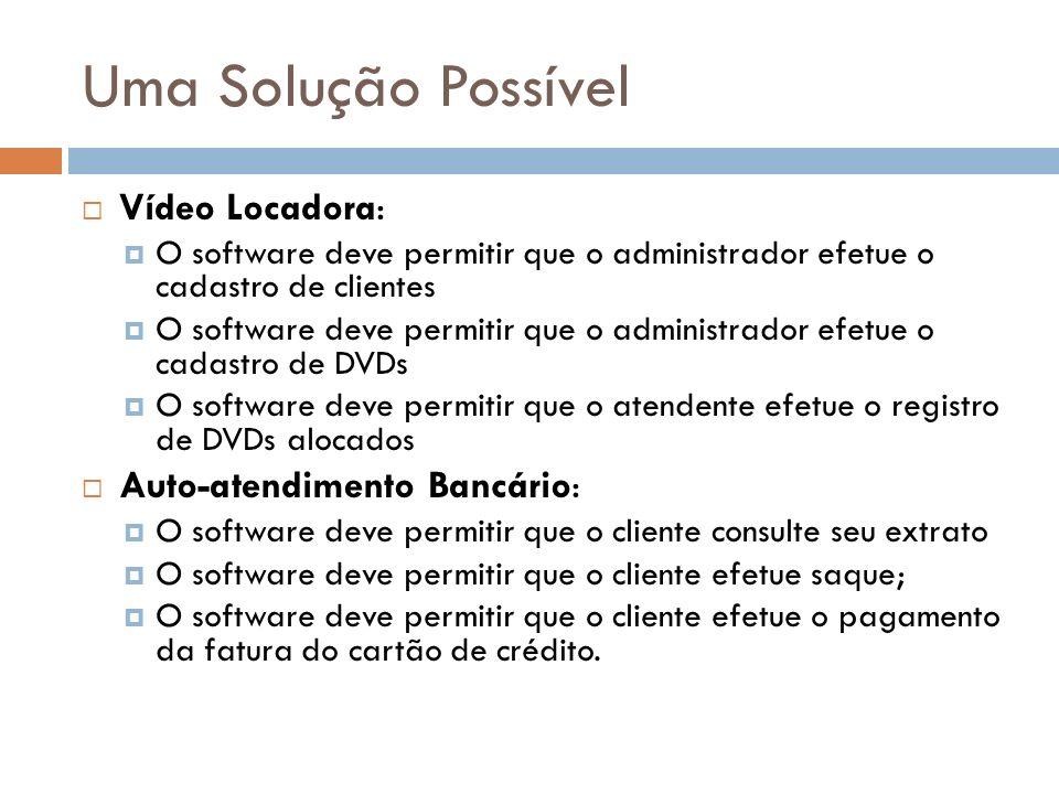 Uma Solução Possível Vídeo Locadora: O software deve permitir que o administrador efetue o cadastro de clientes O software deve permitir que o adminis