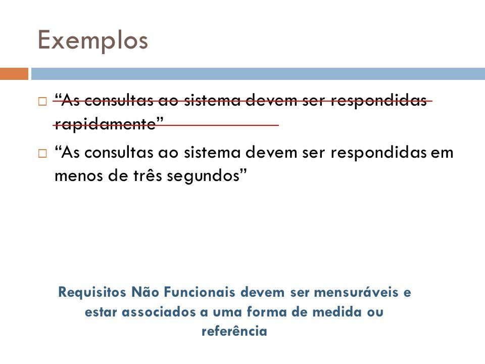 Exemplos As consultas ao sistema devem ser respondidas rapidamente As consultas ao sistema devem ser respondidas em menos de três segundos Requisitos