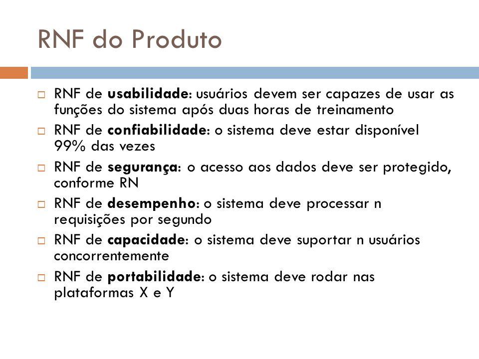 RNF do Produto RNF de usabilidade: usuários devem ser capazes de usar as funções do sistema após duas horas de treinamento RNF de confiabilidade: o si