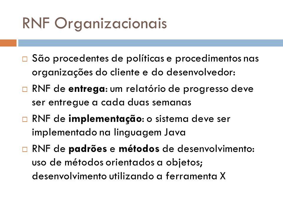 RNF Organizacionais São procedentes de políticas e procedimentos nas organizações do cliente e do desenvolvedor: RNF de entrega: um relatório de progr