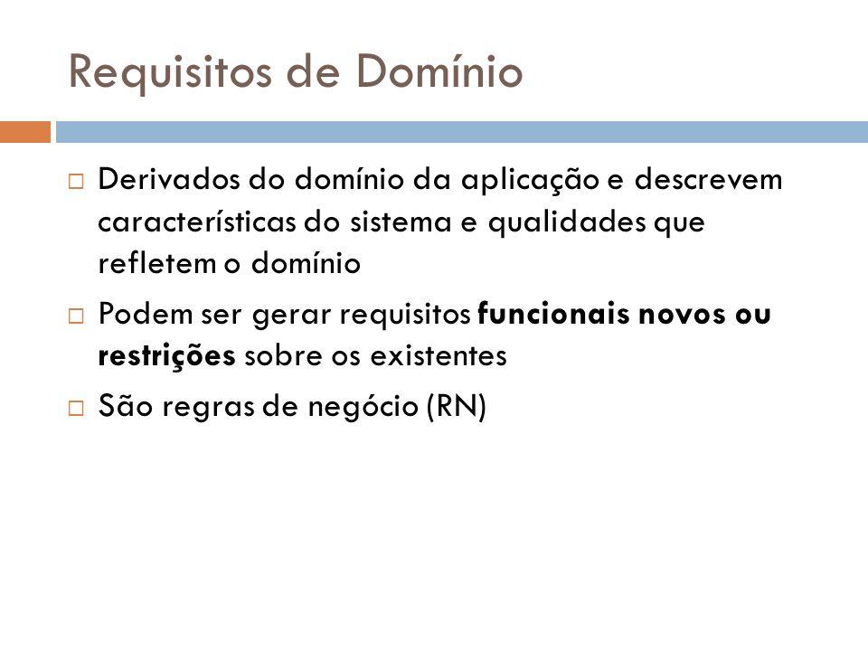 Requisitos de Domínio Derivados do domínio da aplicação e descrevem características do sistema e qualidades que refletem o domínio Podem ser gerar req