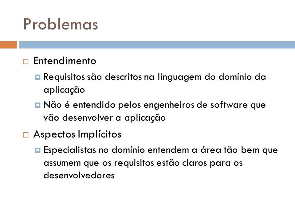 Problemas Entendimento Requisitos são descritos na linguagem do domínio da aplicação Não é entendido pelos engenheiros de software que vão desenvolver