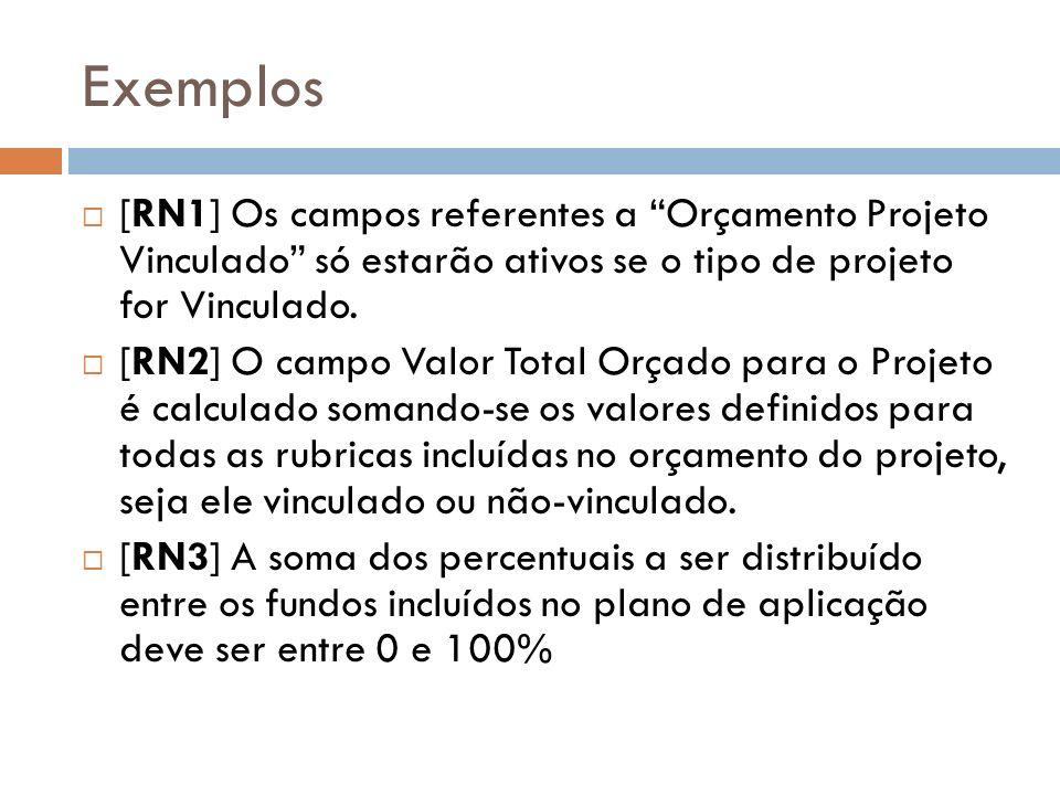 Exemplos [RN1] Os campos referentes a Orçamento Projeto Vinculado só estarão ativos se o tipo de projeto for Vinculado. [RN2] O campo Valor Total Orça