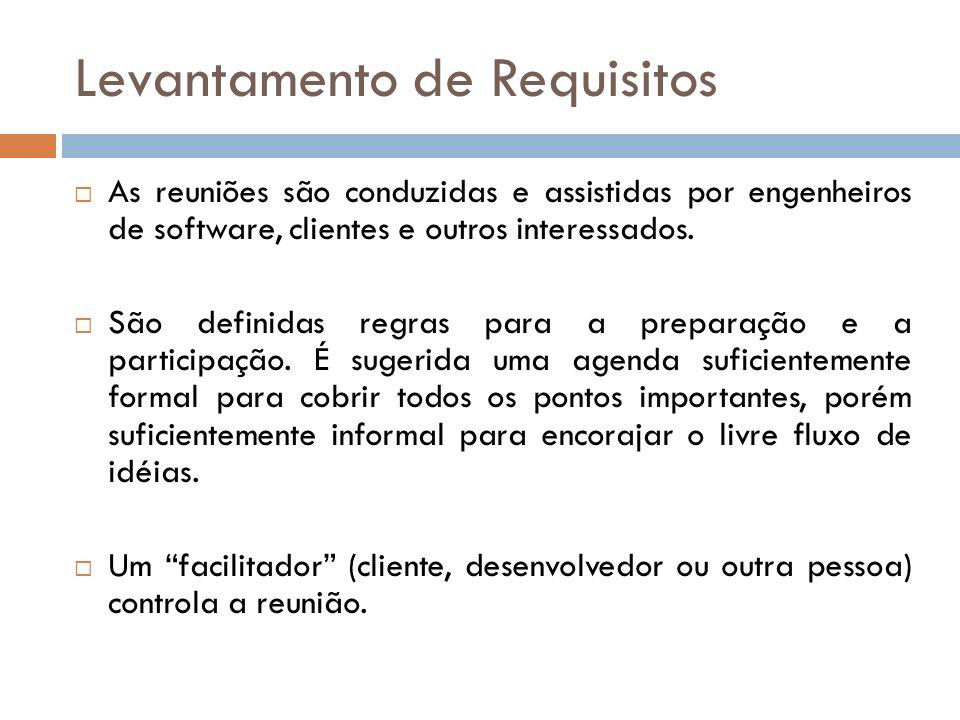As reuniões são conduzidas e assistidas por engenheiros de software, clientes e outros interessados. São definidas regras para a preparação e a partic