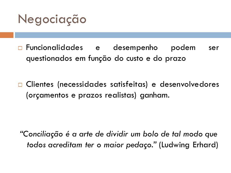 Negociação Funcionalidades e desempenho podem ser questionados em função do custo e do prazo Clientes (necessidades satisfeitas) e desenvolvedores (or