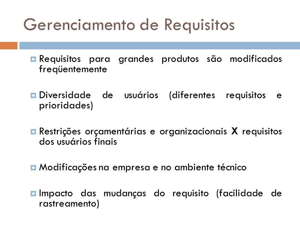 Gerenciamento de Requisitos Requisitos para grandes produtos são modificados freqüentemente Diversidade de usuários (diferentes requisitos e prioridad