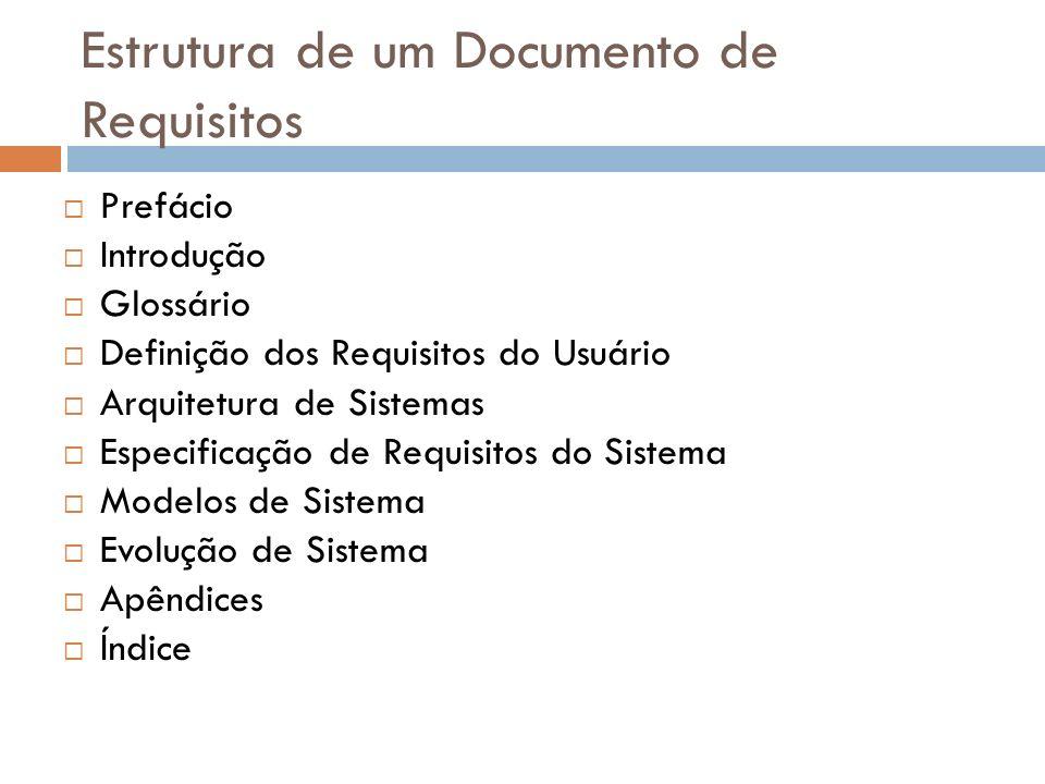 Estrutura de um Documento de Requisitos Prefácio Introdução Glossário Definição dos Requisitos do Usuário Arquitetura de Sistemas Especificação de Req