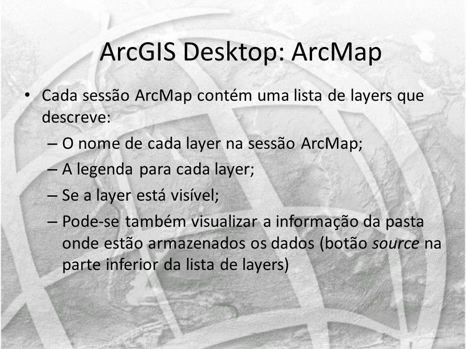 Cada sessão ArcMap contém uma lista de layers que descreve: – O nome de cada layer na sessão ArcMap; – A legenda para cada layer; – Se a layer está vi
