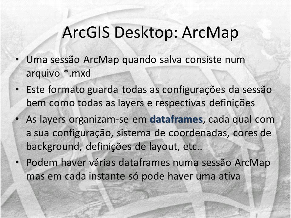 Uma sessão ArcMap quando salva consiste num arquivo *.mxd Este formato guarda todas as configurações da sessão bem como todas as layers e respectivas