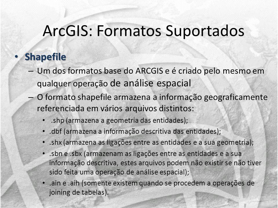 Shapefile Shapefile – Um dos formatos base do ARCGIS e é criado pelo mesmo em qualquer operação de análise espacial – O formato shapefile armazena a i