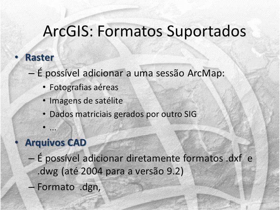 Raster Raster – É possível adicionar a uma sessão ArcMap: Fotografias aéreas Imagens de satélite Dados matriciais gerados por outro SIG... Arquivos CA