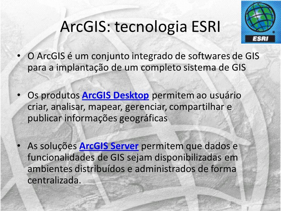 O ArcGIS é um conjunto integrado de softwares de GIS para a implantação de um completo sistema de GIS Os produtos ArcGIS Desktop permitem ao usuário c