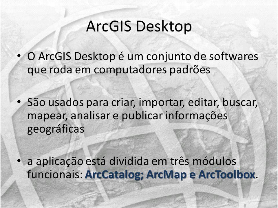 ArcGIS Desktop O ArcGIS Desktop é um conjunto de softwares que roda em computadores padrões São usados para criar, importar, editar, buscar, mapear, a